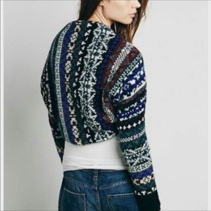 Free People Fairisle knit bolero cropped cardigan